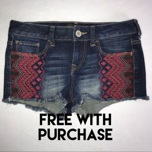 Express Jeans Distressed Aztec Shorts 00